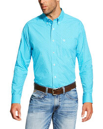 Ariat Men's Turquoise Baird Print Long Sleeve Shirt - Tall , , hi-res