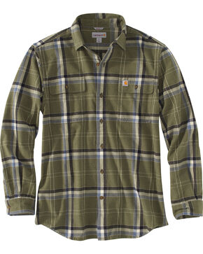 Carhartt Men's Moss Hubbard Plaid Flannel Shirt , Moss Green, hi-res