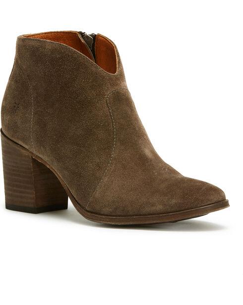 Frye Women's Brown Nora Zip Short Boots - Round Toe , Dark Grey, hi-res