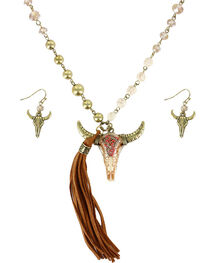 Shyanne® Women's Longhorn Skull Jewelry Set  , Natural, hi-res