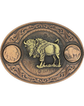 Montana Silversmiths Men's Copper Buffalo Indian Head Nickel Belt Buckle , Rust Copper, hi-res