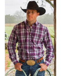Cinch Men's Modern Fit Plaid Long Sleeve Western Shirt, , hi-res