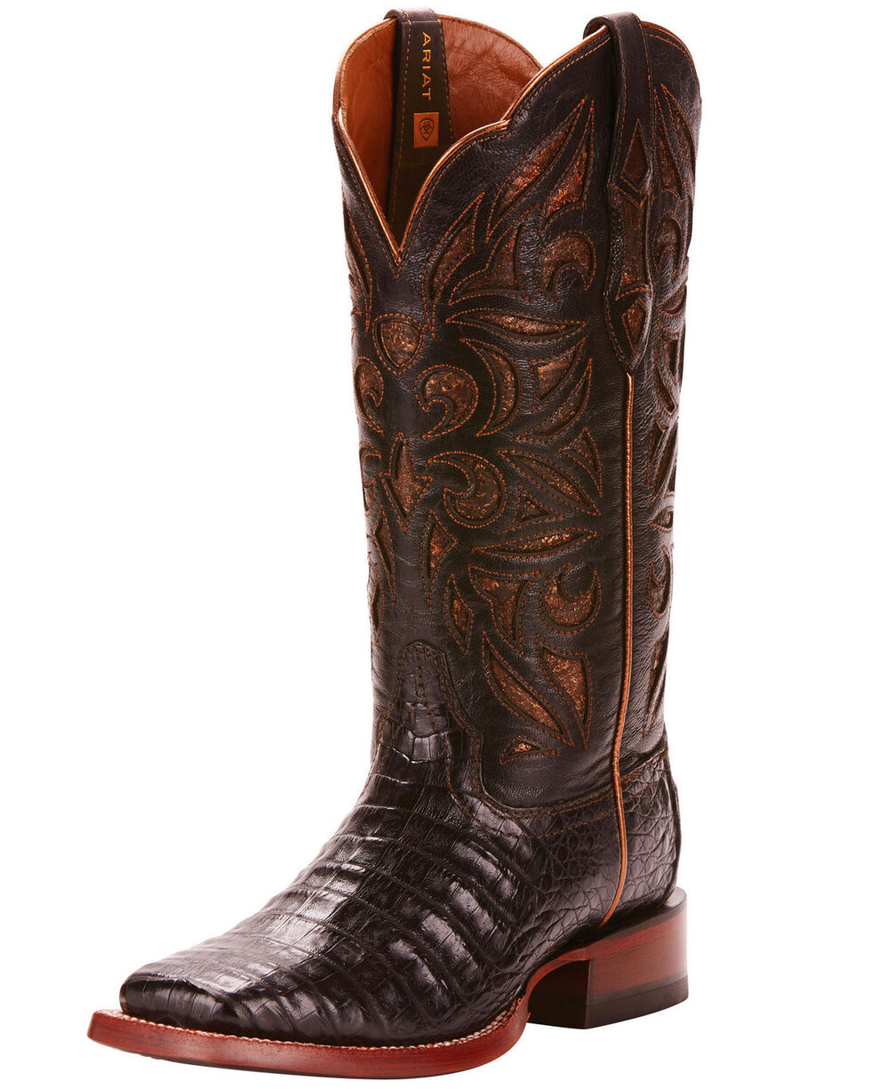 Ariat Women's Caiman Belly Exotic Western Boots - Wide Square Toe, Black, hi-res