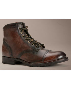 Frye Logan Cap Toe Lace Up Boots, Dark Brown, hi-res