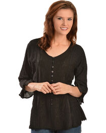 Scully Women's Tonal Embroidered - Length Blouse, , hi-res