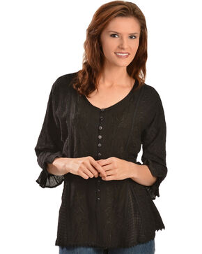 Scully Women's Tonal Embroidered - Length Blouse, Black, hi-res
