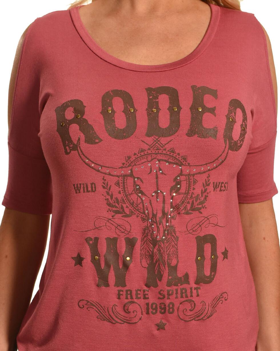 Luna Chix Women's Mauve Rodeo Wild Cold Shoulder Graphic Tee, Mauve, hi-res