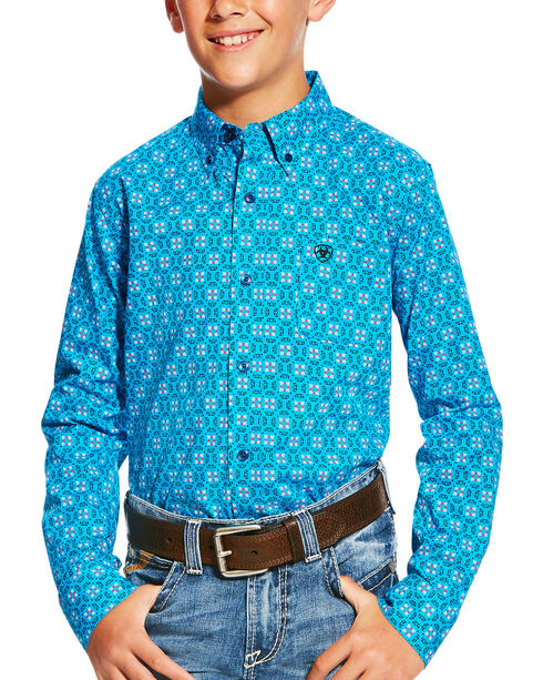 Ariat Boys' Casual Series Laketon Deep Aqua Print Long Sleeve Button Down Shirt, Aqua, hi-res