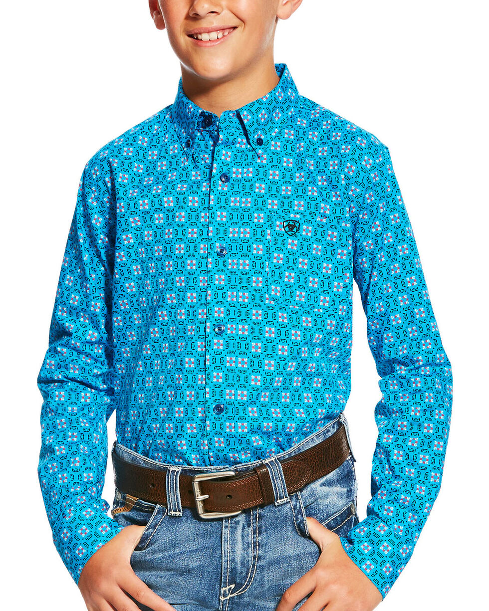 Ariat Boys' Casual Series Laketon Deep Aqua Print Long Sleeve Button Down Shirt, Aqua, hi-res