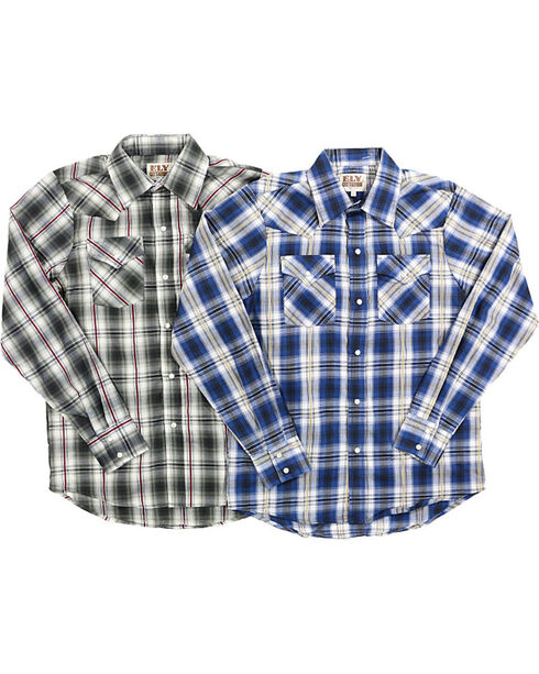 Ely Cattleman Boys' Assorted Plaid Textured Long Sleeve Shirt, Multi, hi-res