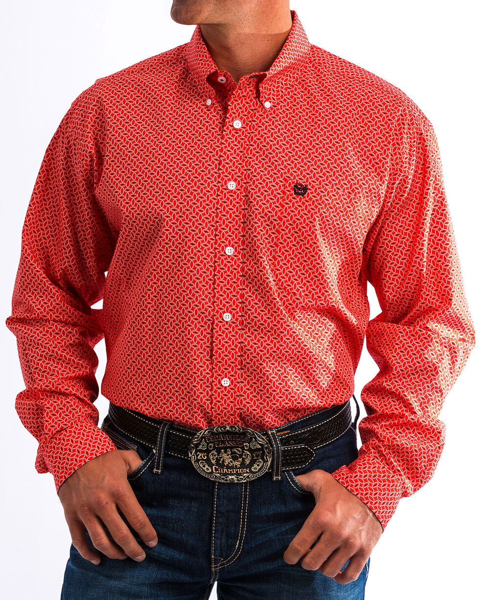 Cinch Men's Red Western Printed Shirt , Red, hi-res