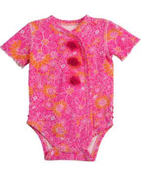 Wrangler Infant Girls' Pink Floral & Rosette Bodysuit - 6M-18M, Pink, hi-res