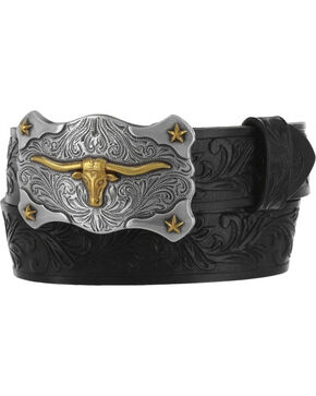Tony Lama Kid's Steer Head Leather Belt, Black, hi-res