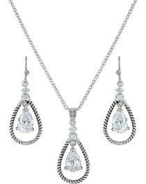 Montana Silversmiths Women's Crystal Twisted Rope Jewelry Set, , hi-res