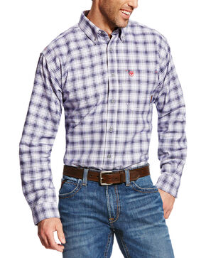 Ariat Men's FR McLean Long Sleeve Plaid Work Shirt, Navy, hi-res
