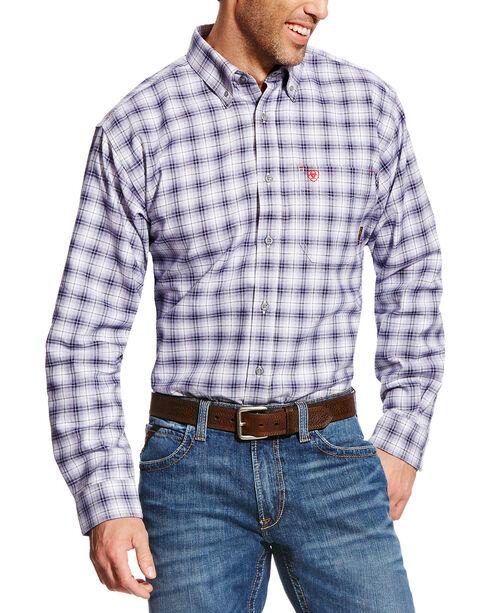 Ariat Men's FR McLean Long Sleeve Plaid Work Shirt, Navy, hi-res