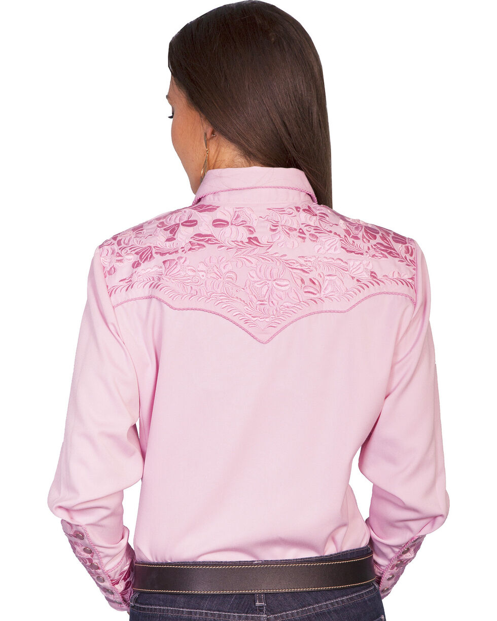 Scully Women's Floral Embroidered Long Sleeve Western Shirt, Pink, hi-res