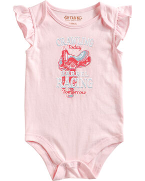 "Shyanne Infant Girls' ""Barrel Racing Tomorrow"" Cap Sleeve Onesie, Pink, hi-res"