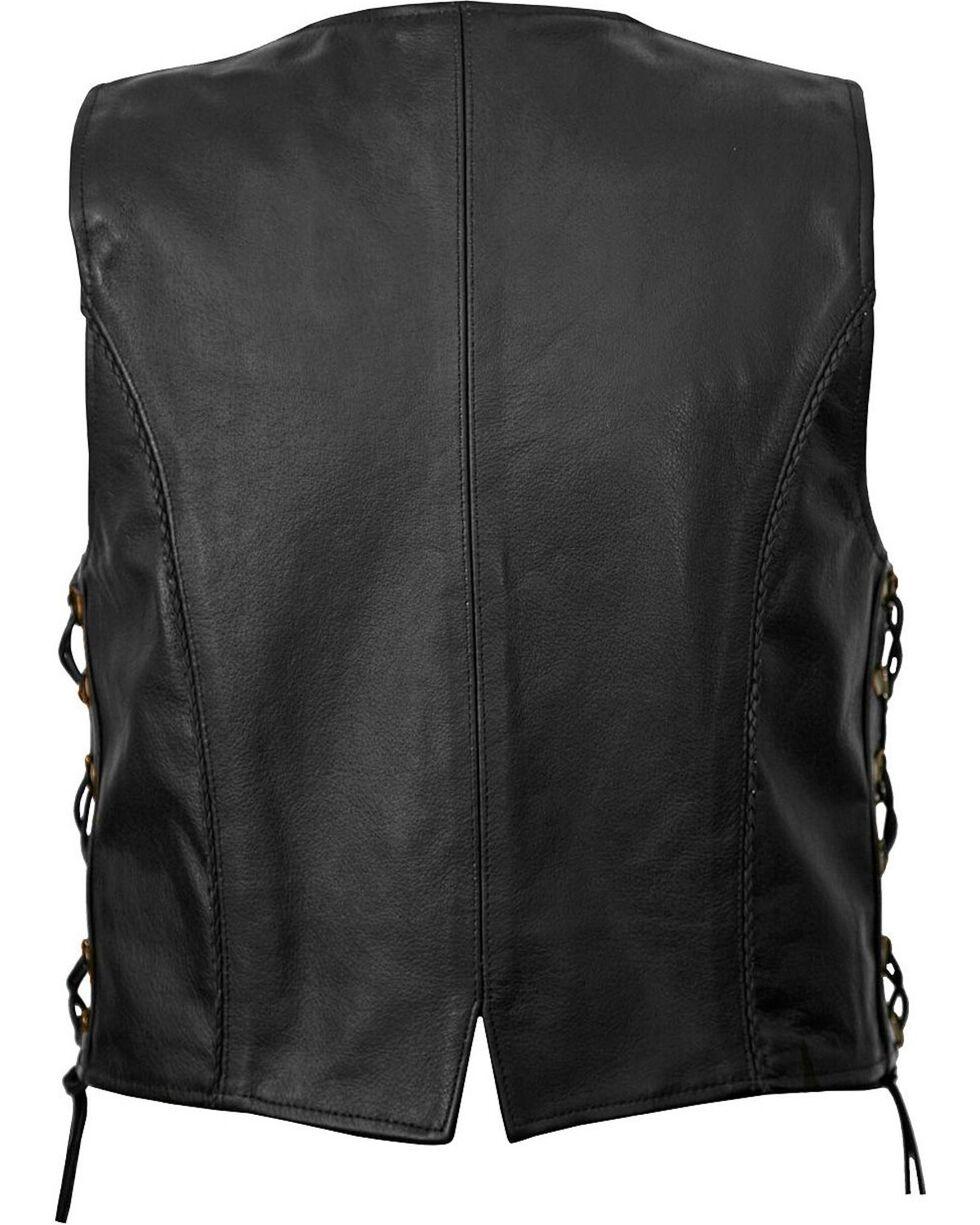 Milwaukee Women's Deuce Leather Motorcycle Vest, Black, hi-res