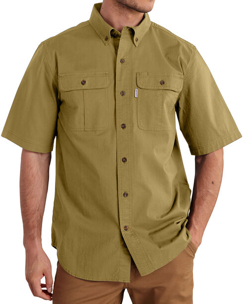 Carhartt Men's Foreman Short Sleeve Work Shirt, Beige, hi-res