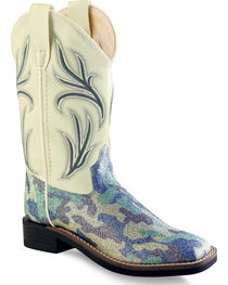 Old West Girls' Blue Camo Western Boots - Square Toe , , hi-res