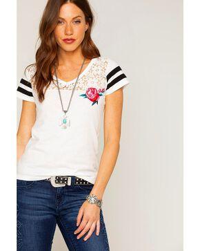 Shyanne Women's Floral Lace Short Sleeve Shirt, Ivory, hi-res