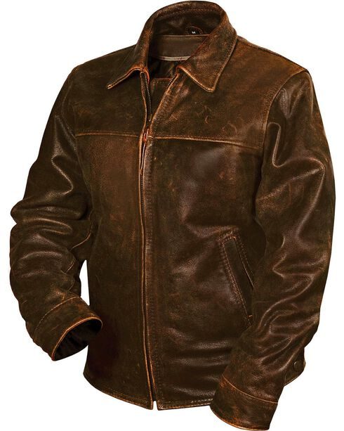 STS Ranchwear Men's Rifleman Leather Jacket, Brown, hi-res