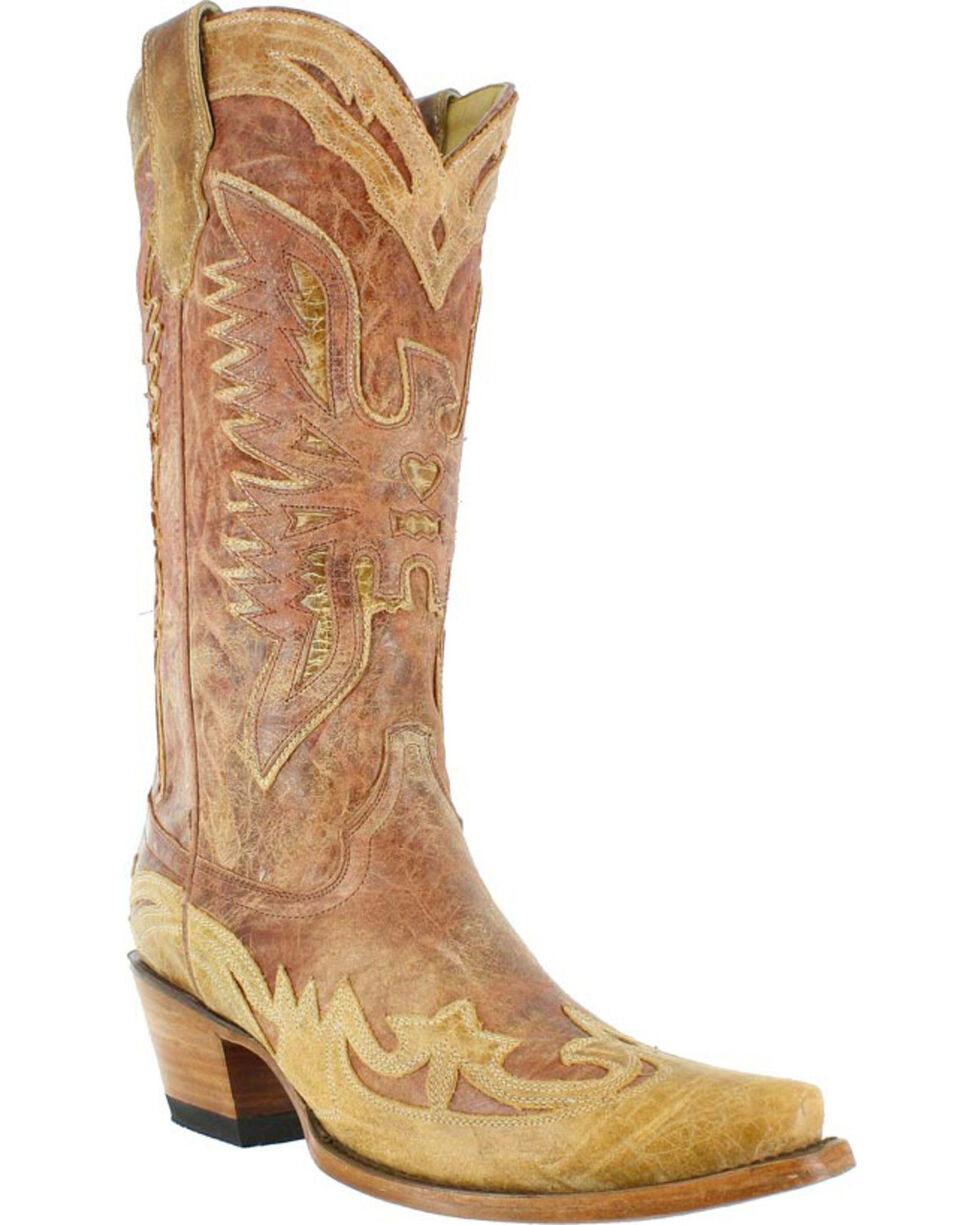 Corral Women's Crackle Distressed Western Boots, Distressed Brown, hi-res