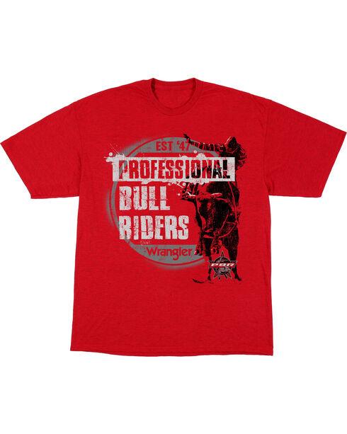 Wrangler Boys' Red Bull Riders Short Sleeve Tee , Red, hi-res