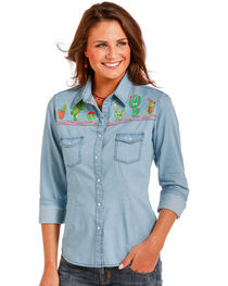 Panhandle Women's Blue Cactus Embroidery Shirt , , hi-res