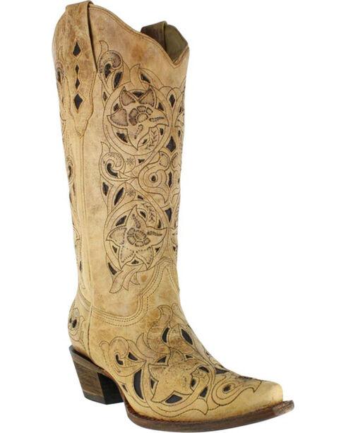 Corral Women's Inlay Snip Toe Western Boots, No Color, hi-res