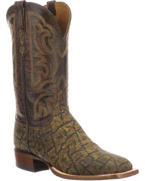 Lucchese Men's Handmade Carrington Saddle Tan Elephant Cowboy Boots - Square Toe, Tan, hi-res