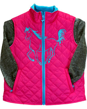 Cowgirl Hardware Toddler Girls' Filly Quilted Vest, , hi-res