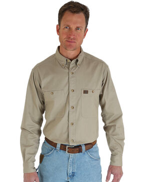 Riggs Workwear Men's Long Sleeve Twill Work Shirt, Khaki, hi-res