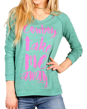 "Bohemian Cowgirl Women's ""Take Me Away"" Long Sleeve Top, Teal, hi-res"