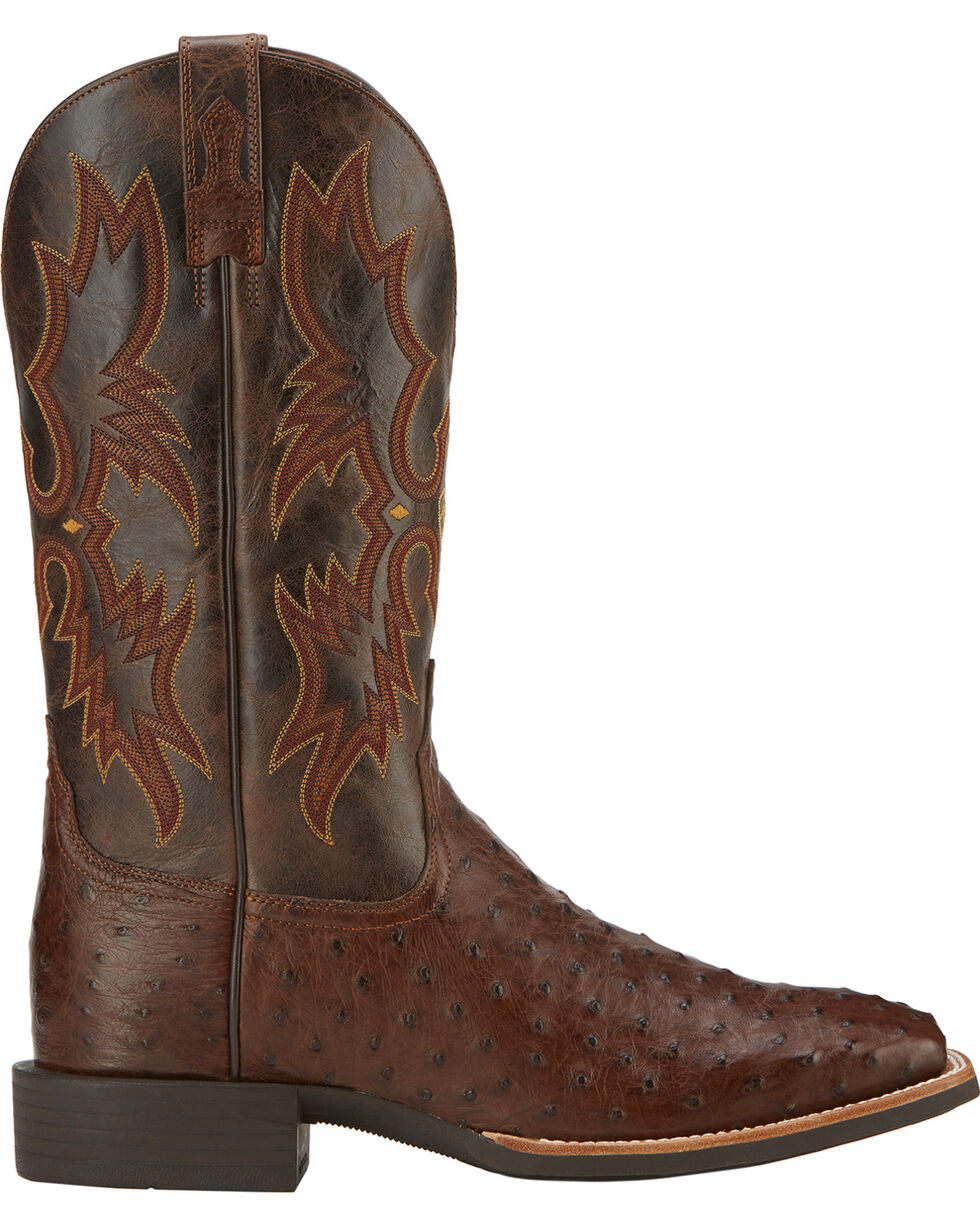 Ariat Men's Quantum Classic Full-Quill Ostrich Western Boots, Antique Tobacco, hi-res