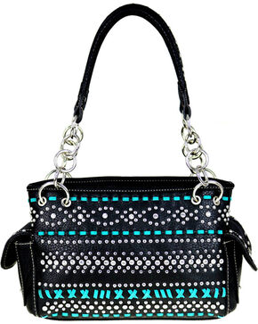 Montana West Women's Bling and Stitched Pattern Concealed Carry Satchel , Black, hi-res