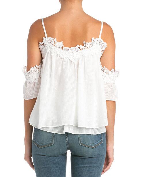 Miss Me Lace Trim Cold Shoulder Top  , White, hi-res