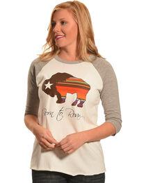 Hooey Women's White Born To Roam Baseball T-Shirt , , hi-res