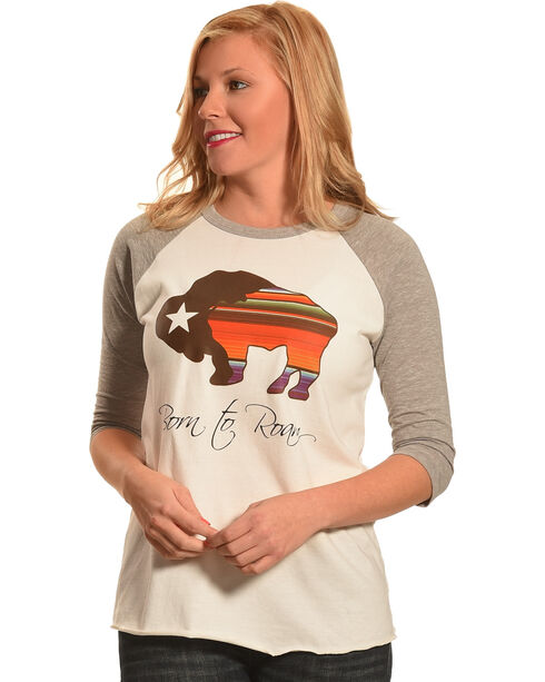 Hooey Women's White Born To Roam Baseball T-Shirt , White, hi-res
