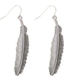 Shyanne® Women's Rhinestone Feather Earrings , , hi-res