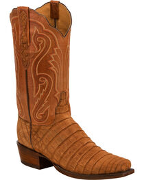 Lucchese Men's Owen Brown Sueded Caiman Belly Western Boots - Square Toe, , hi-res