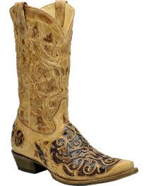 Corral Men's Antique Caiman Inlay Western Boots, , hi-res