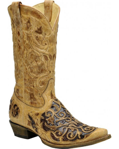 Corral Men's Antique Caiman Inlay Western Boots, Taupe, hi-res