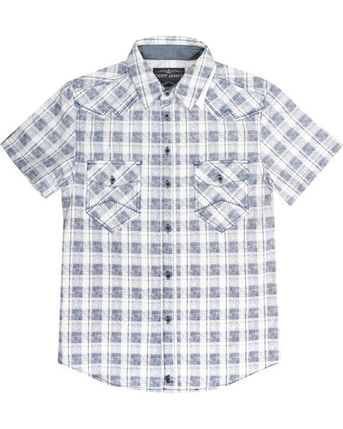 Cody James® Men's Button Up Plaid Short Sleeve Shirt, White, hi-res