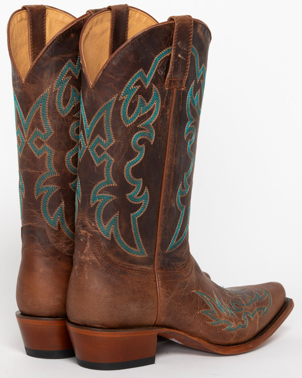 Shyanne® Women's Mad Cat Embroidery X Toe Western Boots, Brown, hi-res