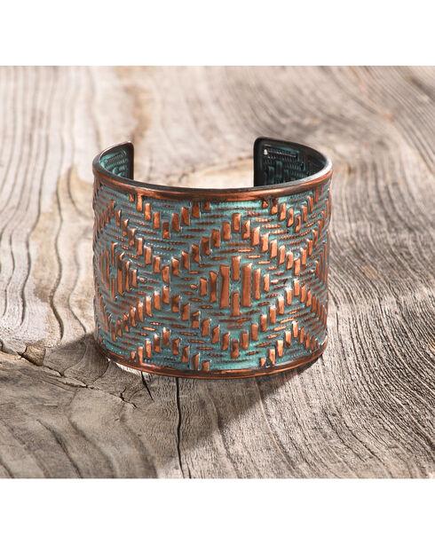 Shyanne Women's Copper Patina Aztec Print Cuff Bracelet, Rust Copper, hi-res