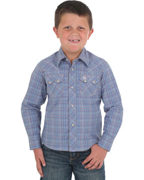 Wrangler Retro Boys' Plaid Sawtooth Pocket Snap Shirt, Blue, hi-res