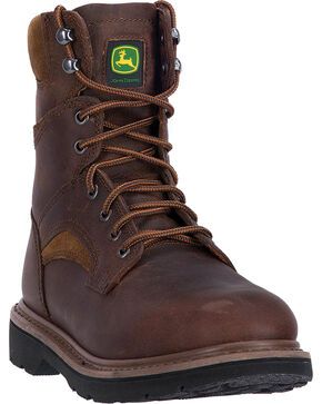 "John Deere Men's Brown 8"" Work Boots - Round Toe, Brown, hi-res"