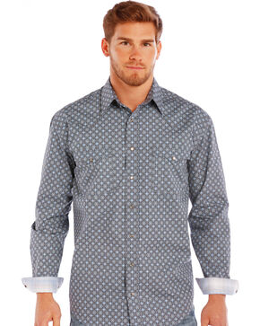 Rough Stock by Panhandle Men's Pattern Long Sleeve Shirt , Grey, hi-res